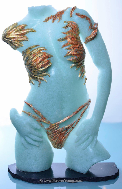 Female life-size glass sculpture with gold
