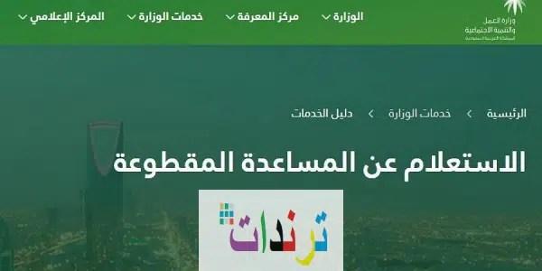 الاستعلام عن المساعدة المقطوعة برقم الطلب عبر موقع وزارة الموارد البشرية