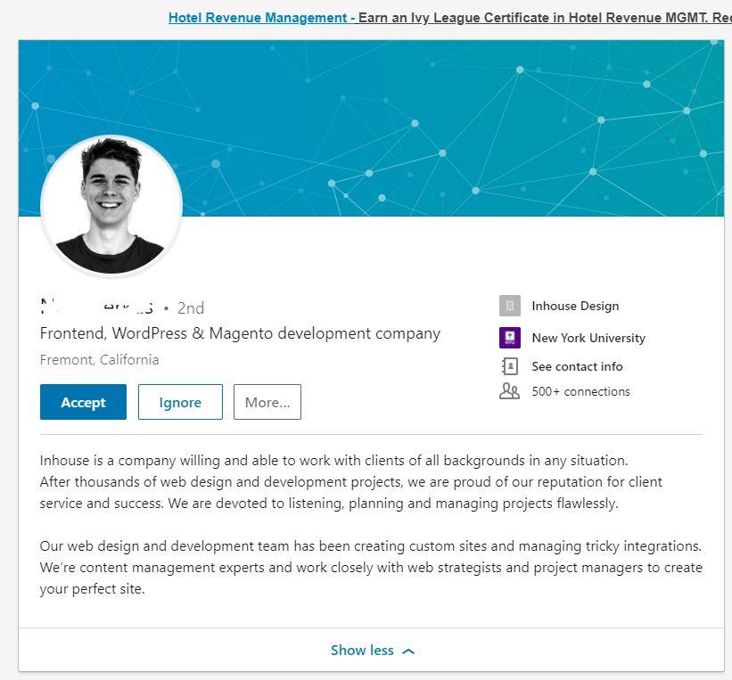 Fake Linkedin Profile Screenshot