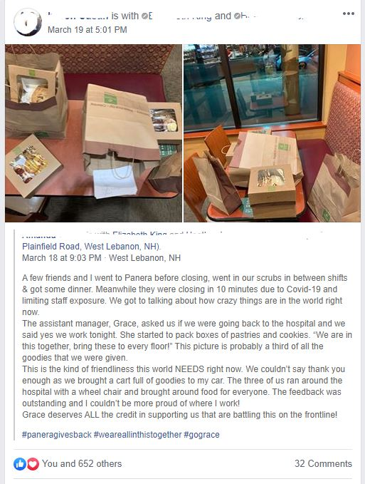 Image of Facebook post of a good deed