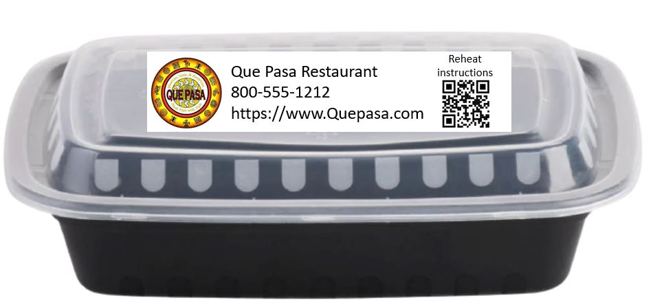 Take out container with QR Code on it
