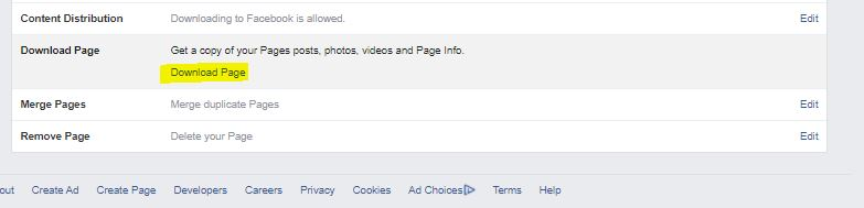 Facebook Screenshot of downloading and backing up information for Business Page