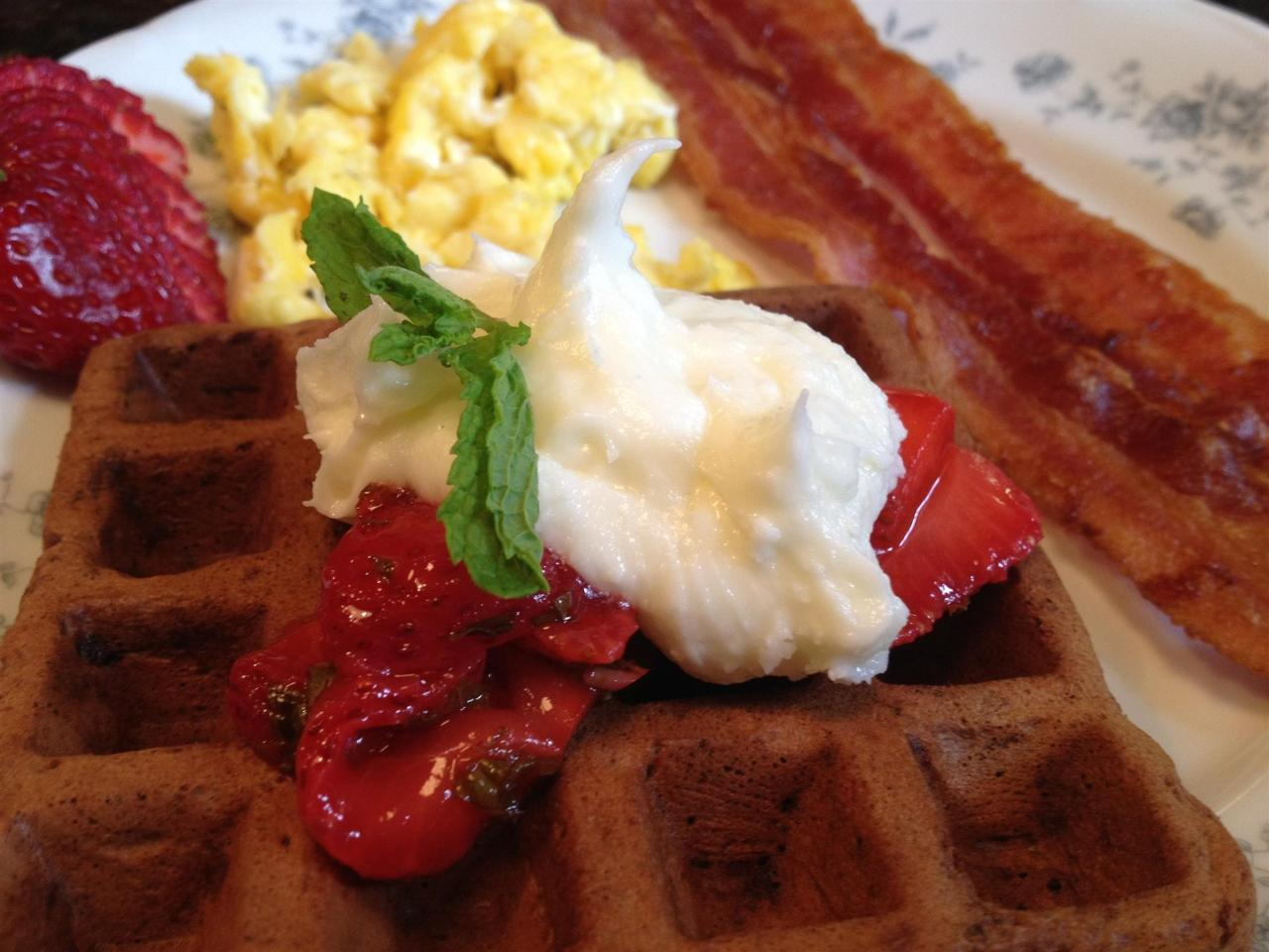 Waffles, Creme Fresh, Local Strawberries, Scrambled Eggs, & Bacon