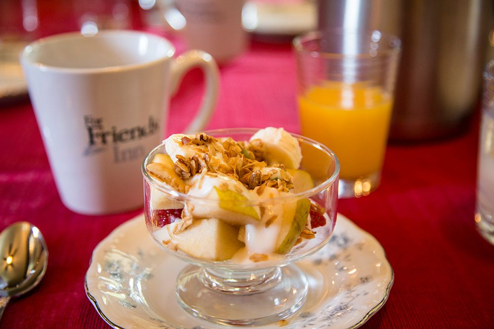 Every Breakfast Starts with Fresh Fruit, Yogurt, & Our Homemade Granola