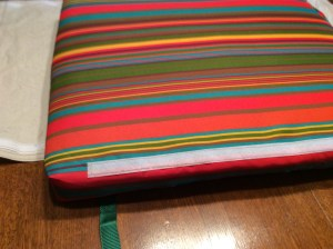 Close-up of side of cushion with velcro sewn on