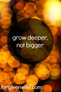 Grow deeper, not bigger.