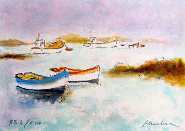 Urbain Huchet DEUX CANOES Hand Signed Limited Edition Lithograph