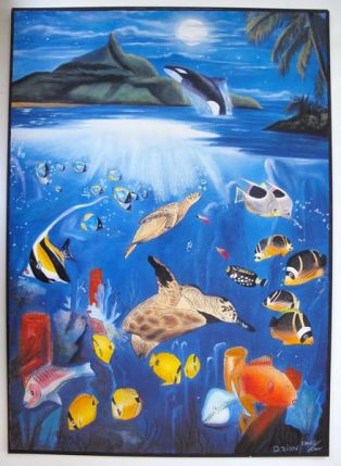 D. Zion ORCA AT DIAMOND HEAD Hand Signed Limited Ed. Serigraph