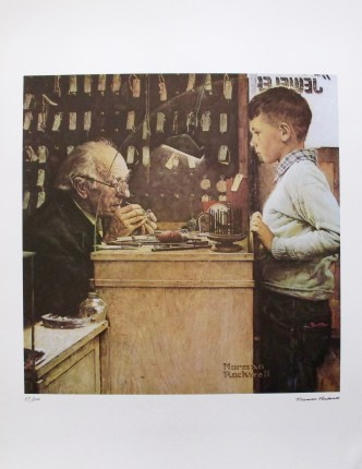 "This is a limited edition signed lithograph by famed American artist Norman Rockwell titled ""The Watchmaker of Switzerland""."