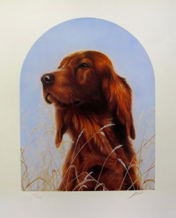 "JOHN SILVER ""IRISH SETTER DOG"" Hand Signed Giclee with Custom Plaque"