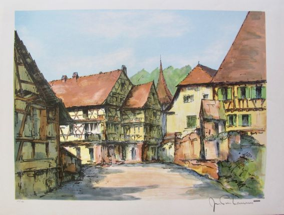 JEAN PIERRE LAURENT Bourg Alsacien Hand Signed Limited Edition Lithograph FRANCE