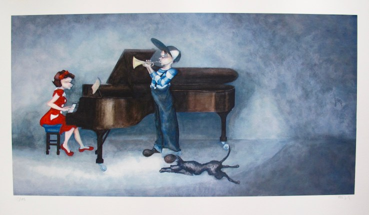 Lynn Poland PIANO RAG Hand Signed Limited Edition Giclee