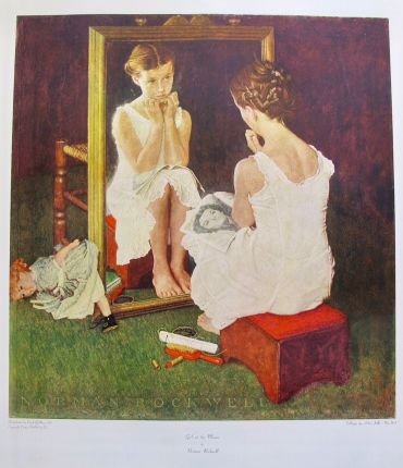 NORMAN ROCKWELL GIRL IN THE MIRROR 1973 Plate Signed Collotype Art