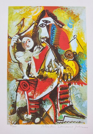 Pablo Picasso CHILD ON MAN'S LAP Estate Signed Limited Edition Giclee
