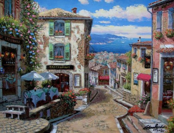 Sam Park RENDEZVOUS IN NICE Hand Signed Limited Ed. Giclee on Canvas