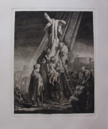 "REMBRANDT ""THE DESCENT FROM THE CROSS"" Amand Durand Plate Signed Etching"