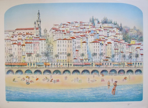 ROLF RAFFLEWSKI MENTON FRENCH RIVIERA BEACH Hand Signed Lithograph FRANCE