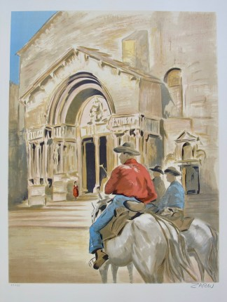 VICTOR ZAROU Cathédrale Saint-Trophime d'Arles Hand Signed Limited Edition Lithograph