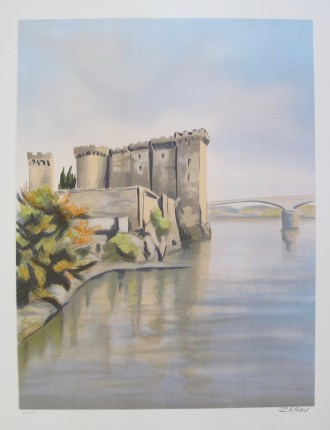 VICTOR ZAROU River Fortress Hand Signed Limited Edition Lithograph French Art