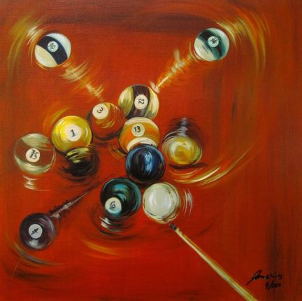 James Wing RED BALL BREAK Hand Signed Limited Ed. Giclee on Canvas