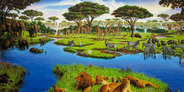 Charles Lynn Bragg AFRICAN WATERING HOLE Hand Signed Limited Ed. Giclee