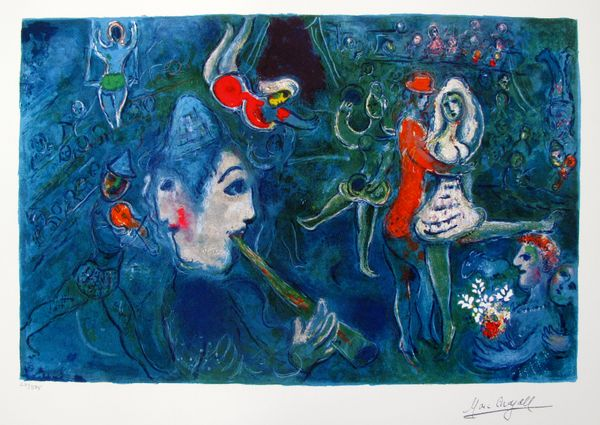 Marc Chagall CIRCUS CLOWN & DANCER Limited Edition Facsimile Signed Giclee