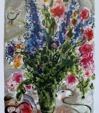 Marc Chagall LES LUPINS BLEU Limited Edition Facsimile Signed Lithograph