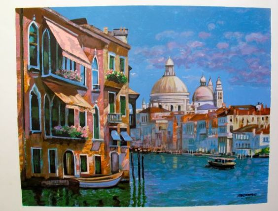 Howard Behrens HOTEL VENEZIA Limited Ed. Hand Signed Serigraph