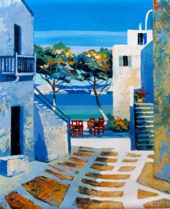 "KERFILY ""MYKONOS II"" Hand Signed Serigraph on Canvas"