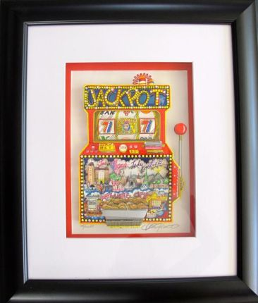 "CHARLES FAZZINO ""SLOTS OF FUN"" Framed Hand Signed 3-D Serigraph SLOT MACHINE"