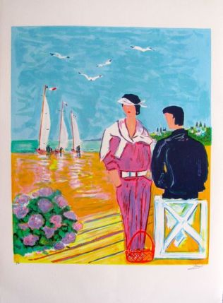 Jean-Claude Picot COUPLE AT DEAUVILLE 1980 Hand Signed Limited Ed. Lithograph
