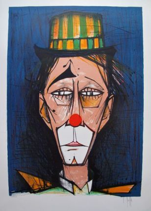 V. Beffa CLOWN Hand Signed Limited Edition Lithograph - Similar to Bernard Buffet