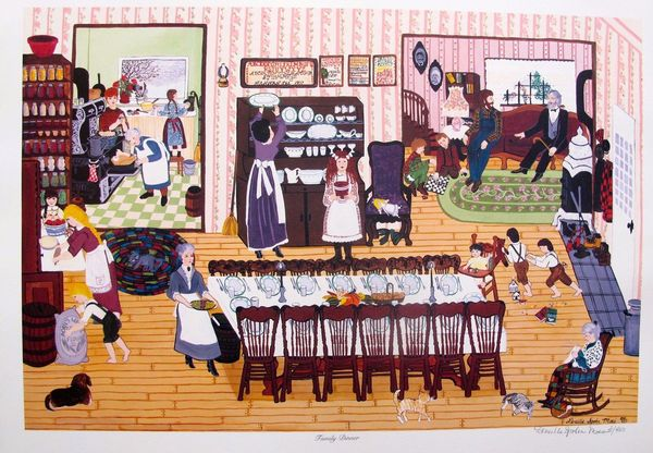 """DENEILLE SPOHN MOES """"FAMILY DINNER"""" Hand Signed Limited Edition Serigraph"""
