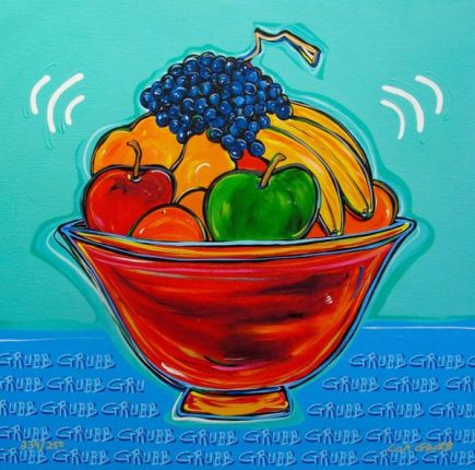 "LISA GRUBB ""FRUIT BOWL"" Hand Signed Limited Edition Giclee on Canvas"