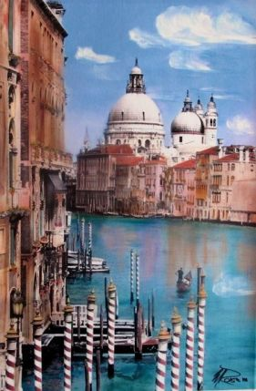 MARTIN ROBERTS GRAND CANAL Hand Signed Giclee on Canvas Venice Italy