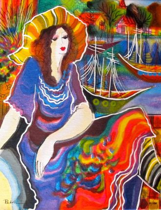 Patricia Govezensky LADY BY THE BAYSIDE Hand Signed Serigraph on Canvas