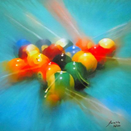 James Wing LIGHT BLUE BALL BREAK Hand Signed Limited Ed. Giclee on Canvas