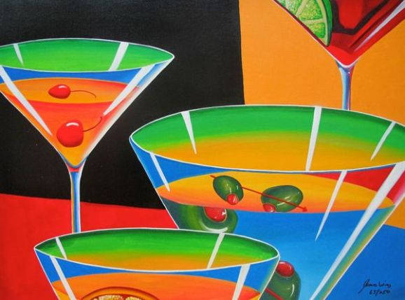 James Wing MULTI MARTINI Hand Signed Limited Ed. Giclee on Canvas James Wing MULTI MARTINI Hand Signed Limited Ed. Giclee on Canvas