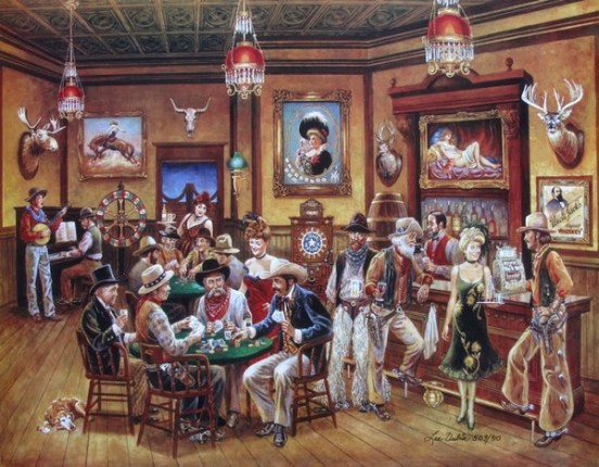 Lee Dubin POKER SALOON Hand Signed Limited Ed. Lithograph