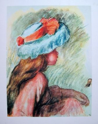 Pierre Auguste Renoir GIRL IN BLUE HAT Limited Ed. Giclee