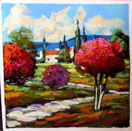 """MARK BRAVER """"SPRING BLOSSOMS"""" Hand Signed Limited Edition Serigraph"""