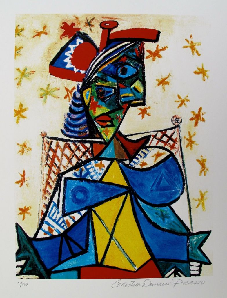 Pablo Picasso SEATED WOMAN WITH RED & BLUE HAT Estate Signed Limited Edition Small Giclee