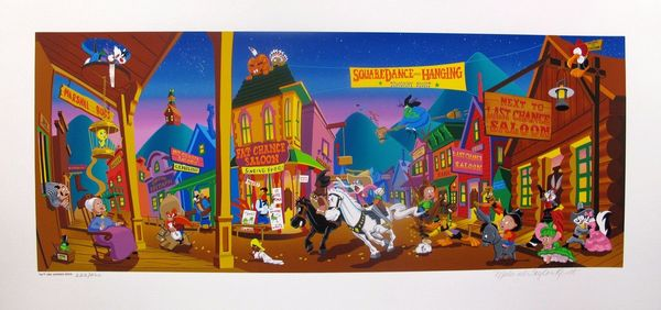 Melanie Taylor Kent Tune Town Hand Signed Serigraph Warner Bros Western Suite