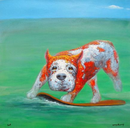 Wang Zhi LOOK MA NO PAWS Limited Ed. Hand Signed Giclee on Canvas