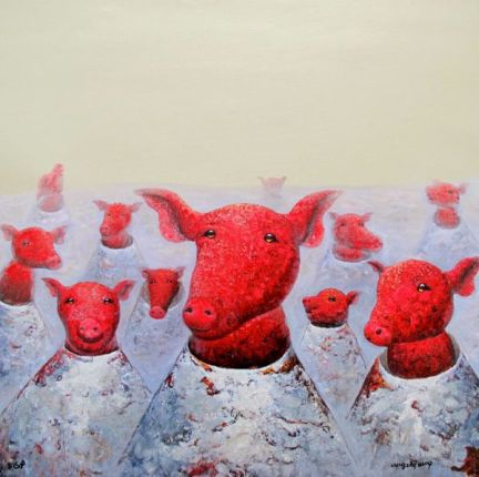 Wang Zhi PIG CANNON Limited Ed. Hand Signed Giclee on Canvas
