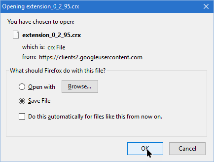 Download dan Save Ekstensi Chrome sebagai file CRX