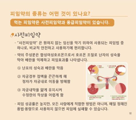 피임약의 종류 사전 피임약과 응급피임약 출처: 식품의약품안전처