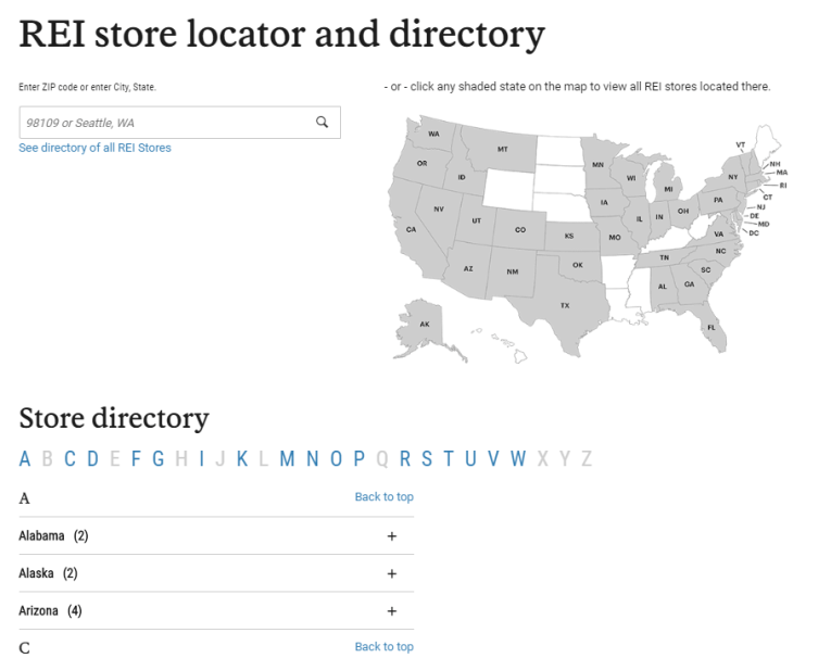 rei store locator and directory