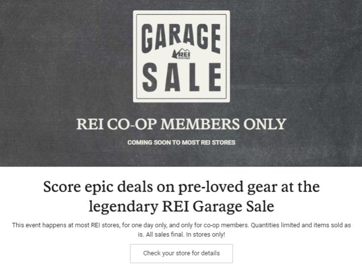 when is the next rei garage sale, when is rei garage sale, next rei garage sale