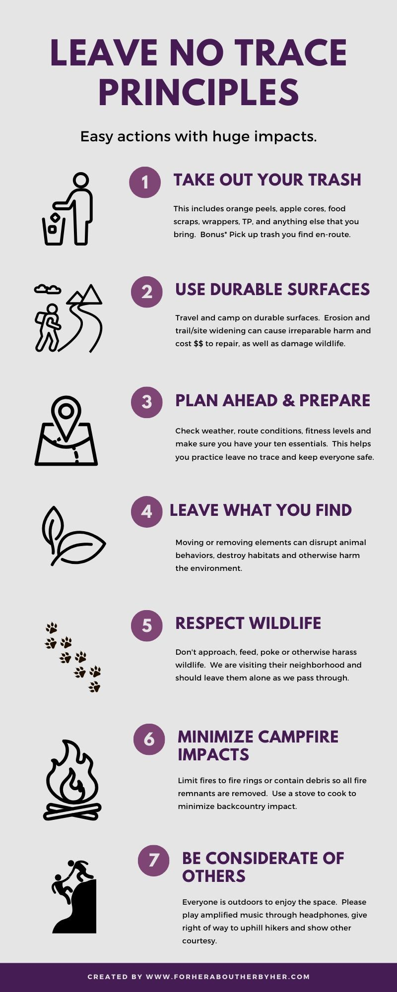 take out your trash, use durable surfaces, plan ahead & prepare, leave what you find, respect wildlife, minimize campfire impacts, be considerate of others